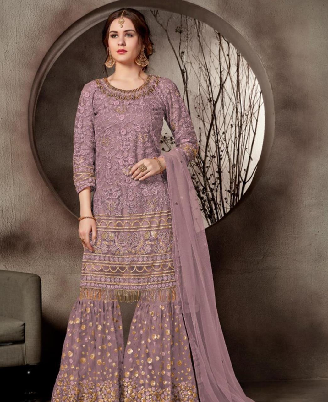 Lace Net Lavender Palazzo Suit Salwar