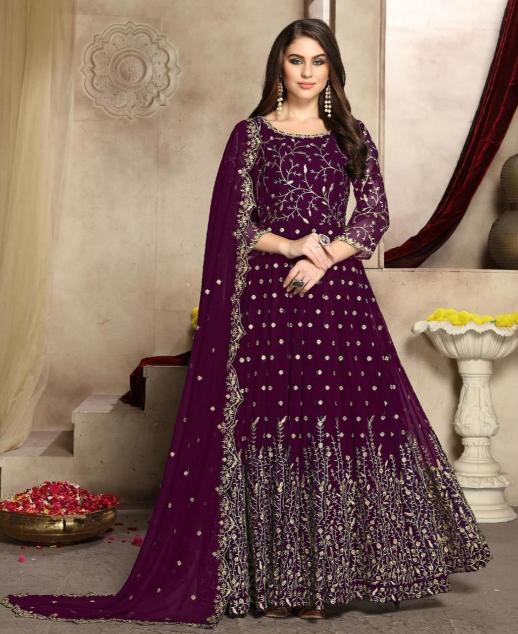 Embroidered Georgette Abaya Style Salwar in Purple