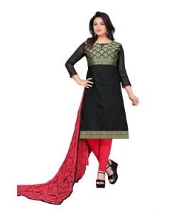 Cotton Straight cut Salwar Kameez in Black