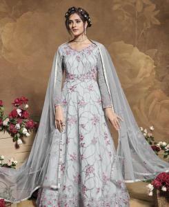 Thread Satin Abaya Style Salwar in Grey