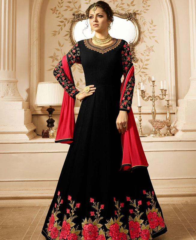 Embroidered Georgette Black Abaya Salwar