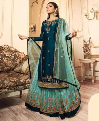 Embroidered Georgette DARKCYAN Palazzo Suit Salwar
