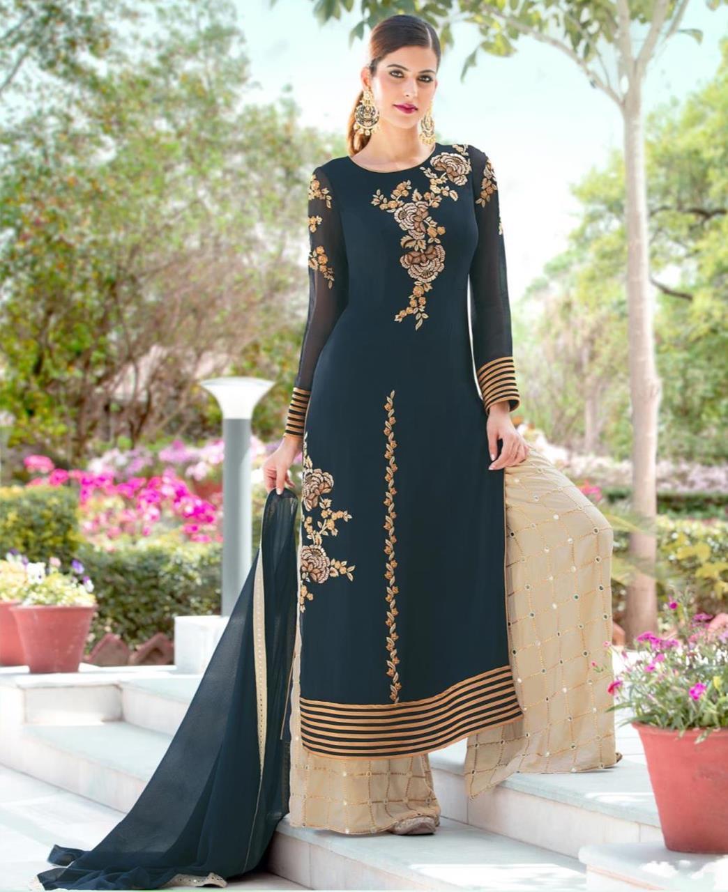 Embroidered Georgette Blue Palazzo Suit Salwar Kameez