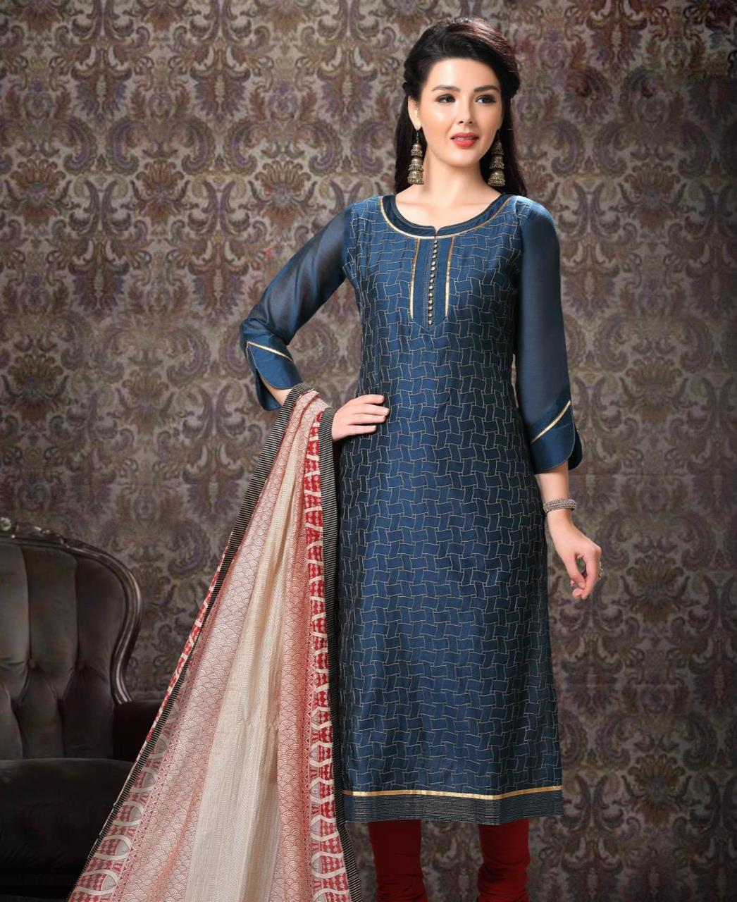 Printed Banarasi Silk Blue Straight Cut Salwar