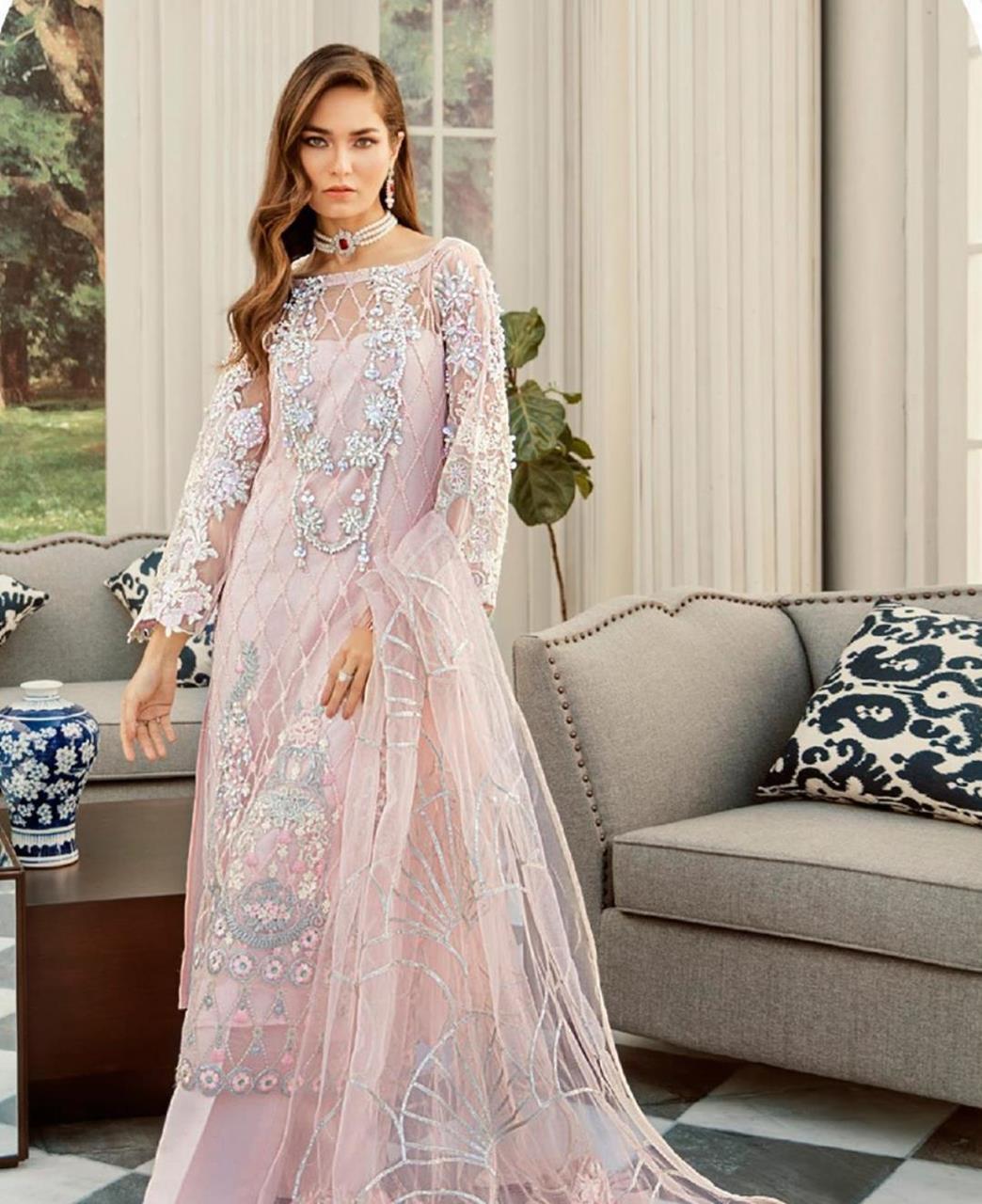Thread Net Straight cut Salwar Kameez in Baby Pink