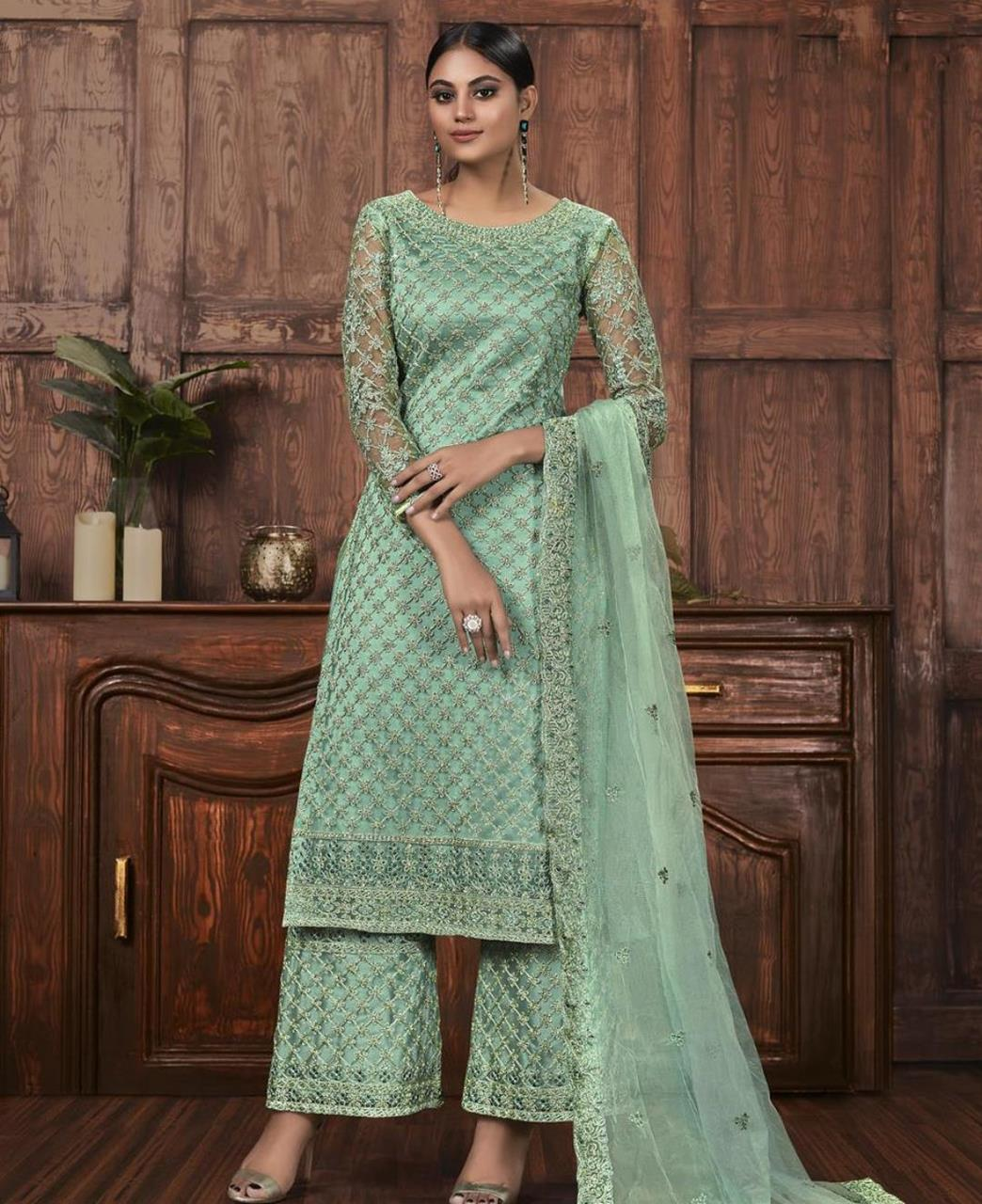 Thread Net Abaya Style Salwar in Green