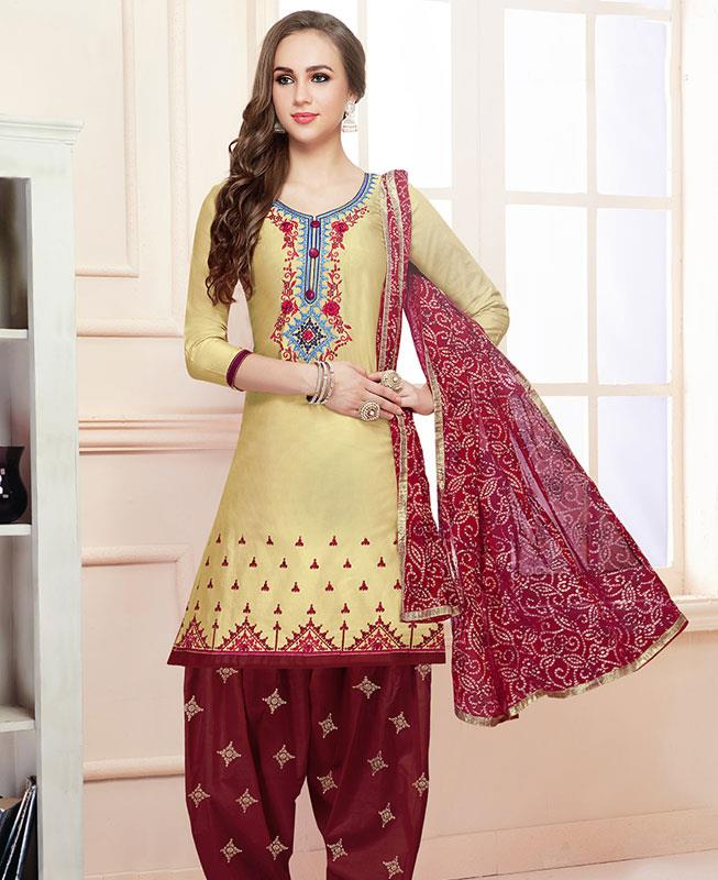 Embroidered Cotton Yellow Patiyala Salwar