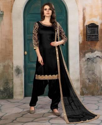 Embroidered Art Silk Black Patiyala Salwar