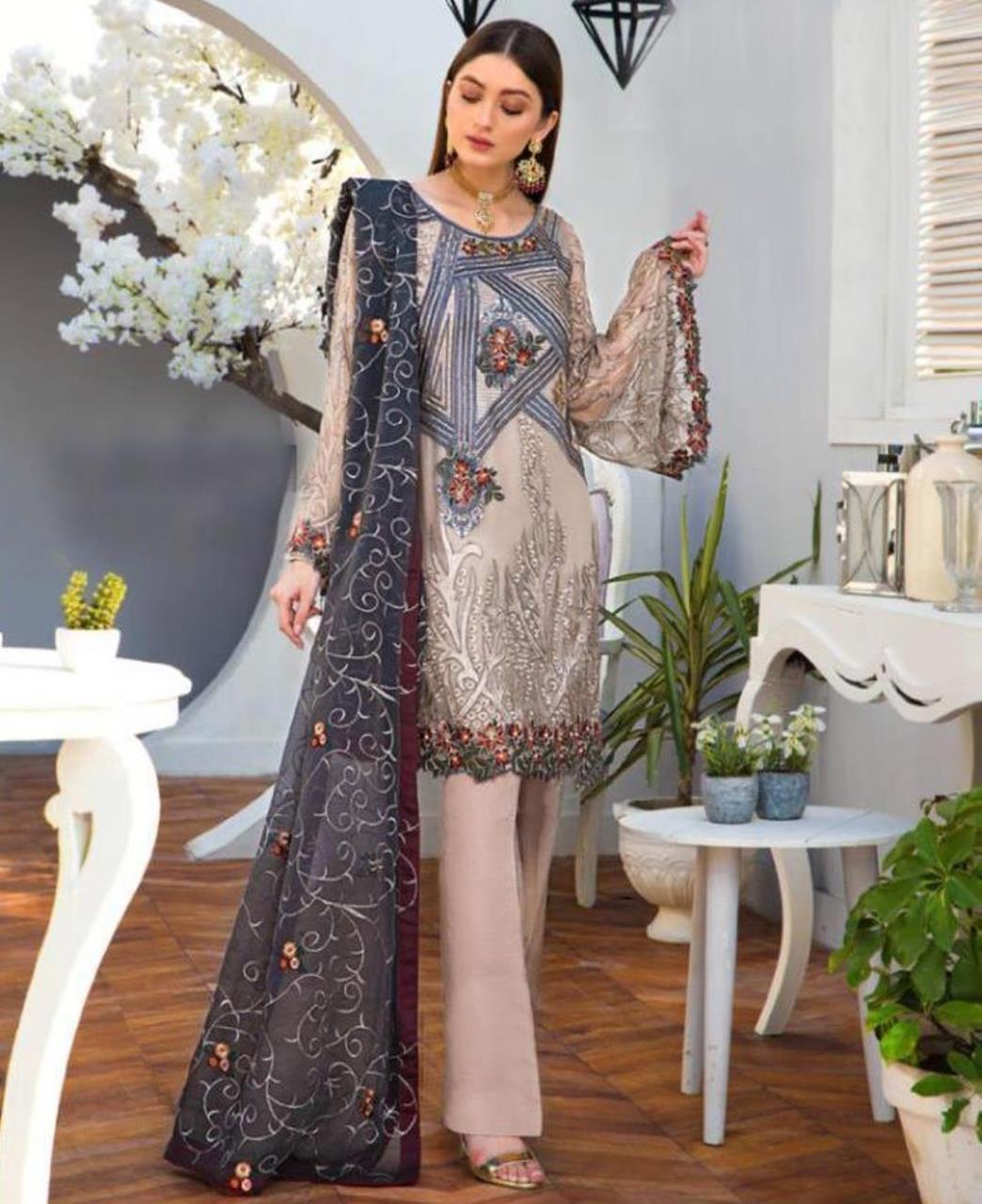 Embroidered Georgette Straight cut Salwar Kameez in Beige