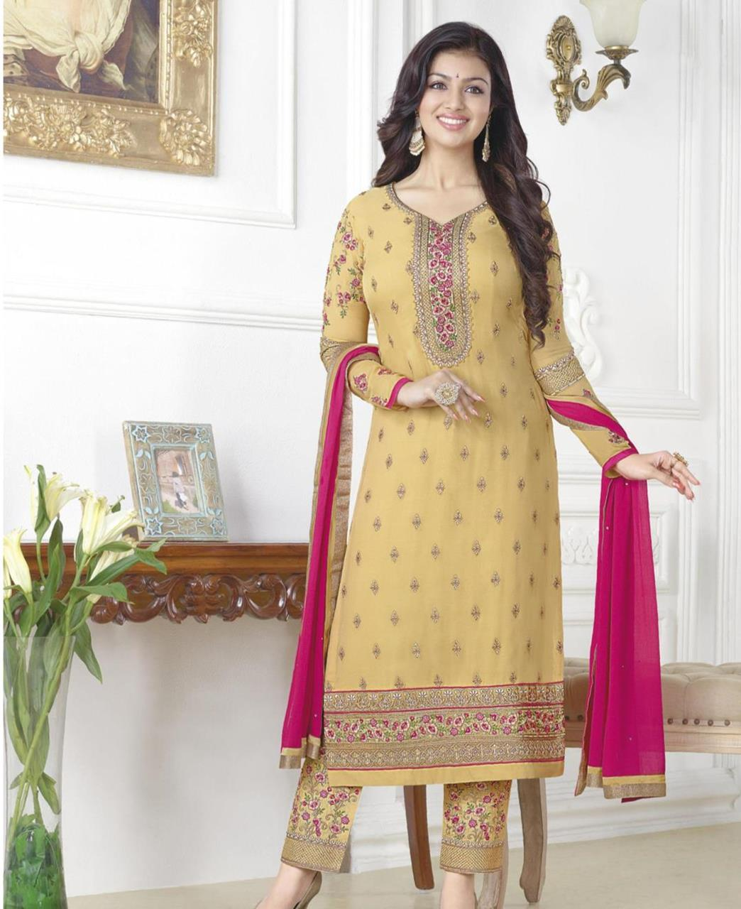 1952ee831f Embroidered Georgette Yellow Palazzo Suit Salwar Kameez