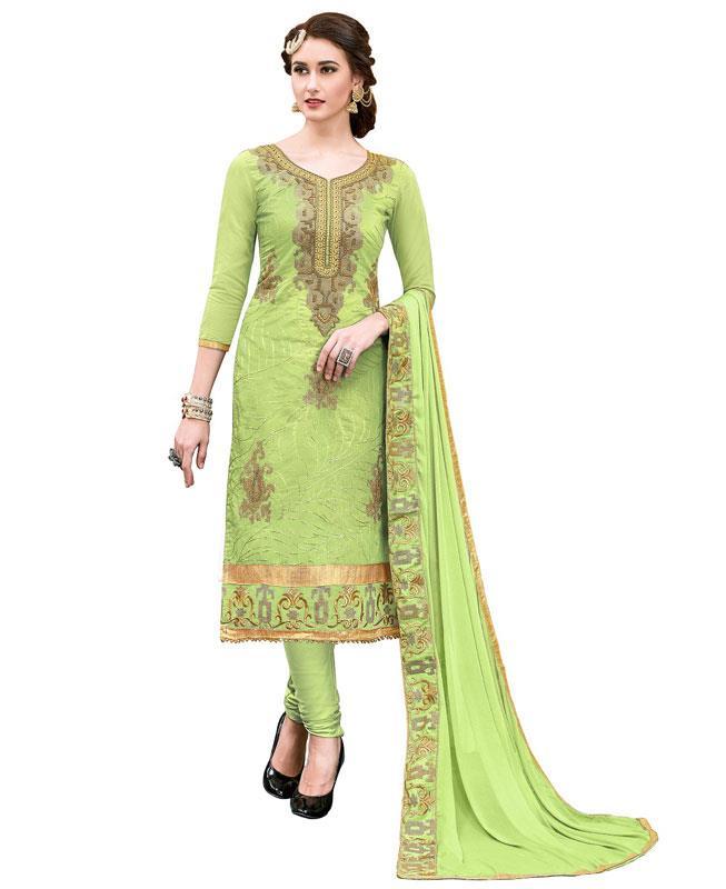 Embroidered Chanderi Green Straight cut Salwar