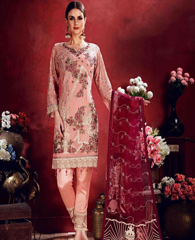 Embroidered Georgette Pink Straight Cut Salwar