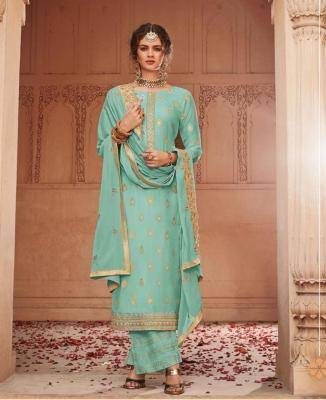 Embroidered Jacquard Turquoise Palazzo Suit Salwar