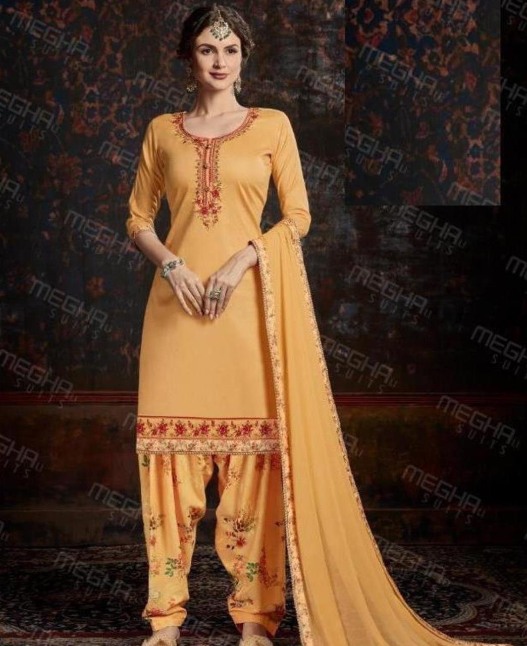 Thread Cotton Straight cut Salwar Kameez in Yellow