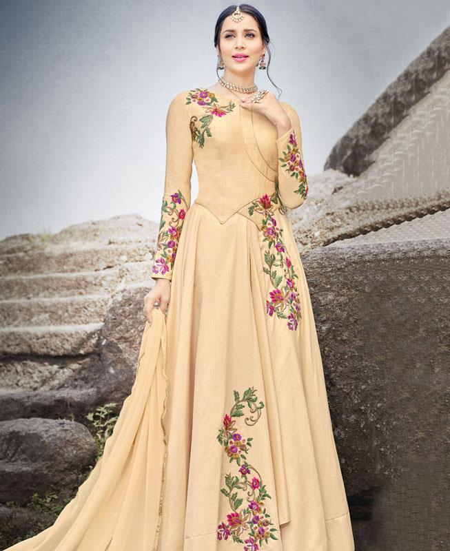 Embroidered Silk Beige Abaya Style Salwar