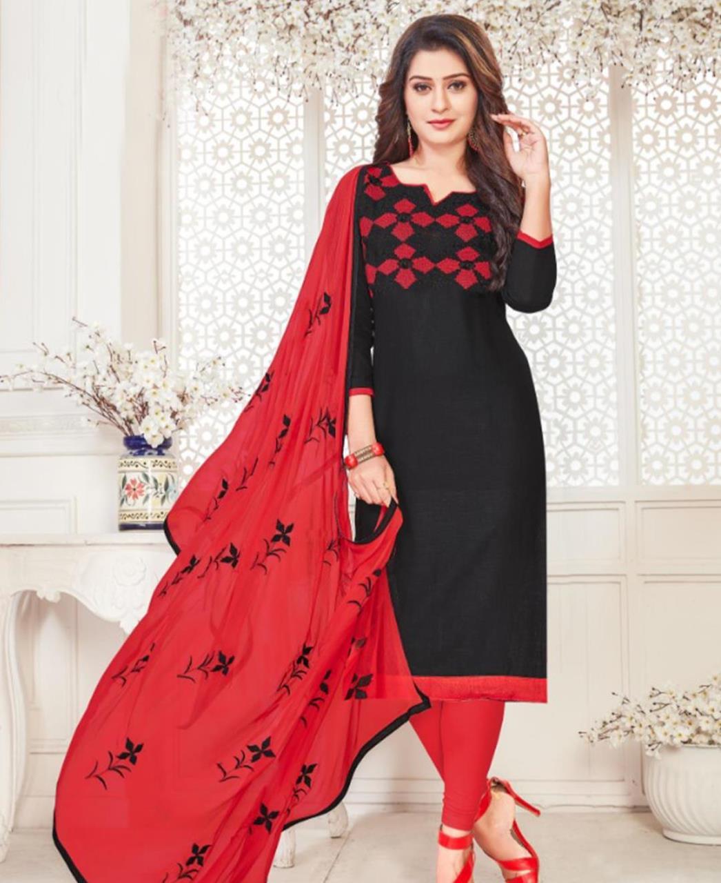 Embroidered Cotton Black Straight Cut Salwar Kameez