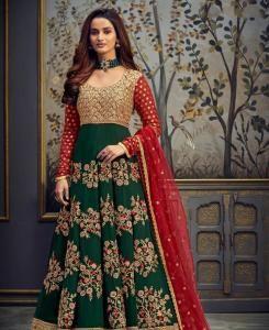 Thread Georgette Abaya Style Salwar in Green  ,  Red