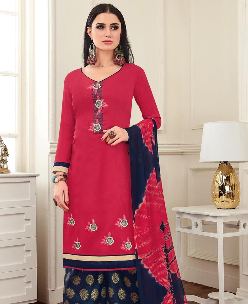 Embroidered Banarasi Silk DEEPPINK Palazzo Suit Salwar