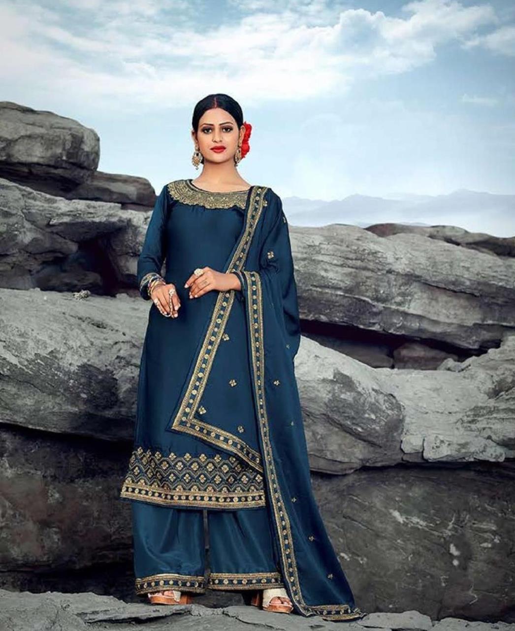 Resham Georgette Straight cut Salwar Kameez in Blue