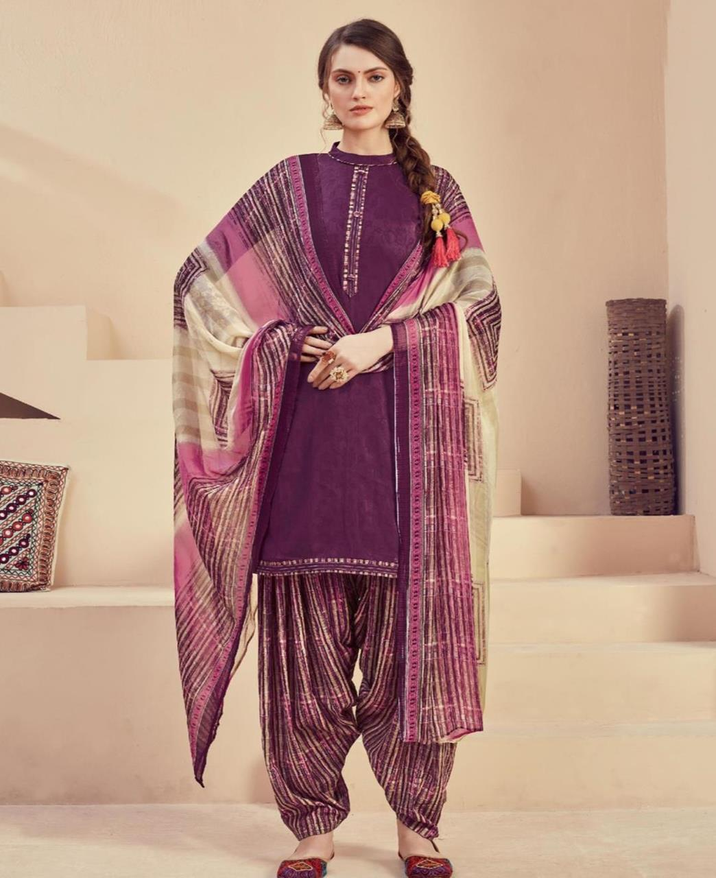 Printed Cotton Patiyala Suit Salwar in Purple