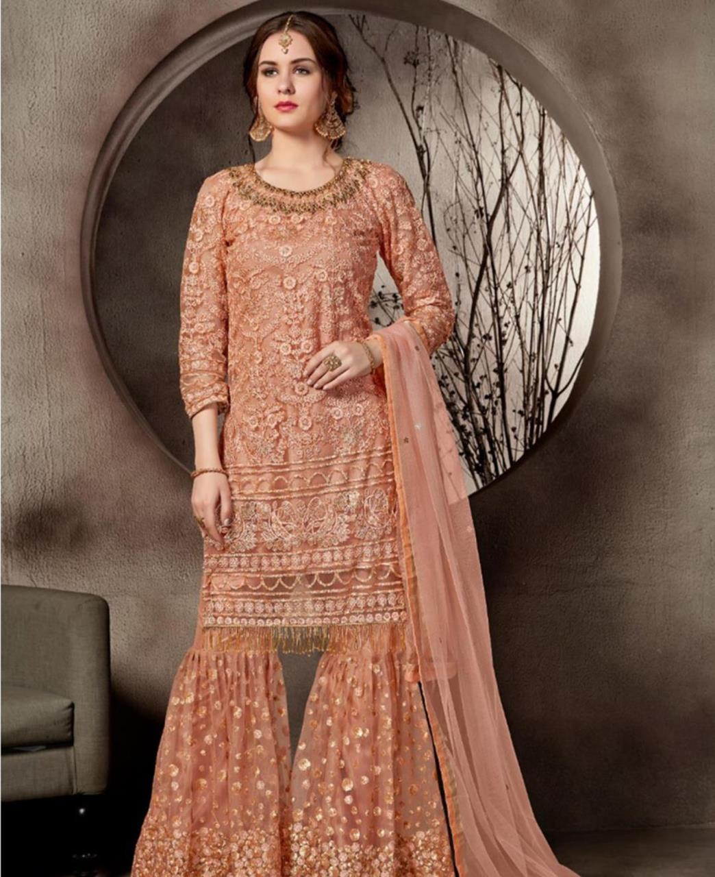 Lace Net PeachPuff Palazzo Suit Salwar
