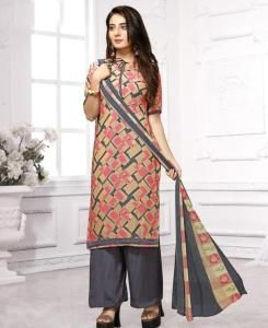 Printed Georgette Straight cut Salwar Kameez in Pink