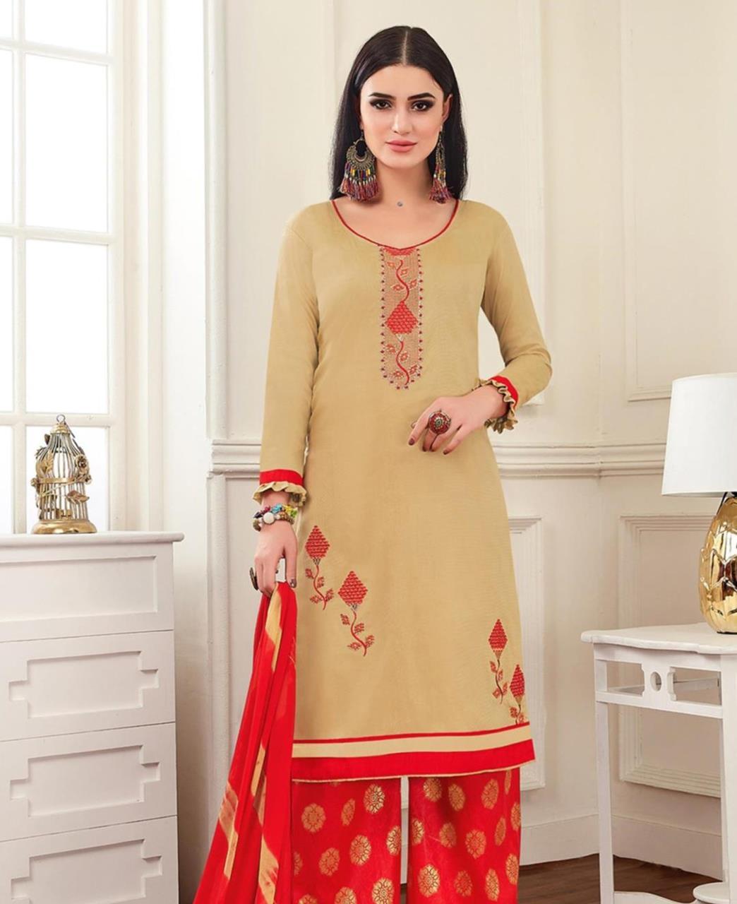 Embroidered Banarasi Silk Beige Palazzo Suit Salwar