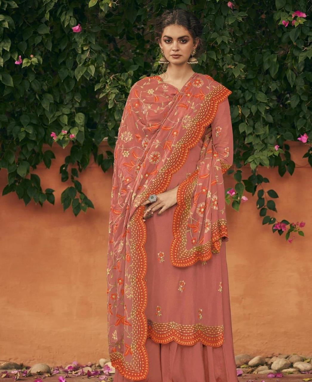 Thread Silk Straight cut Salwar Kameez in Rust Red