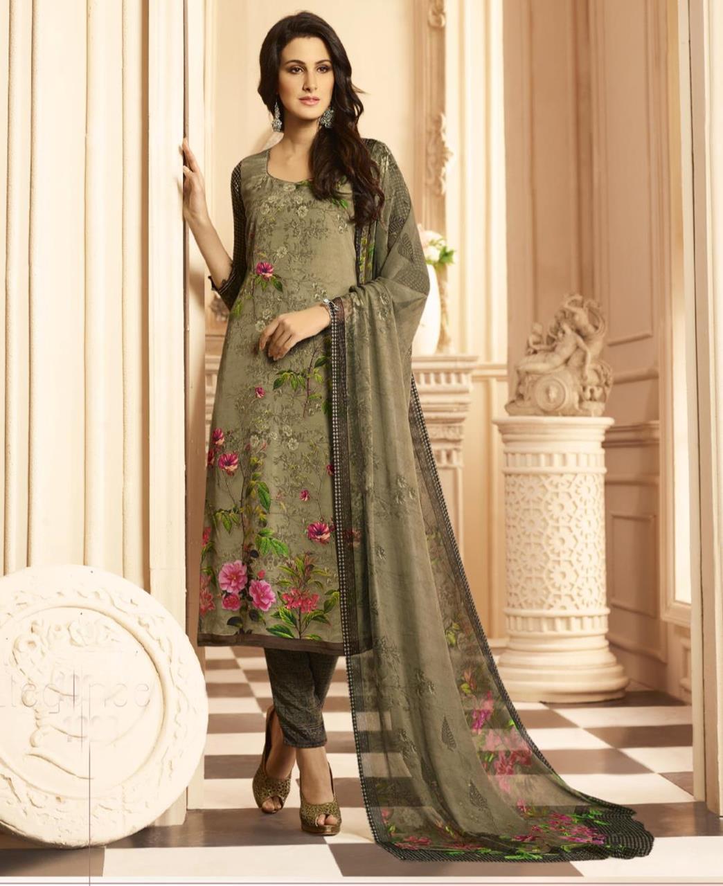 Printed Crepe Green Straight Cut Salwar Kameez