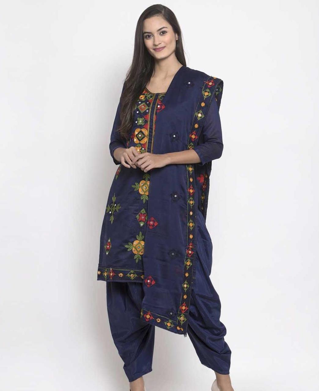 HandWorked Silk Patiyala Suit Salwar in Navy Blue