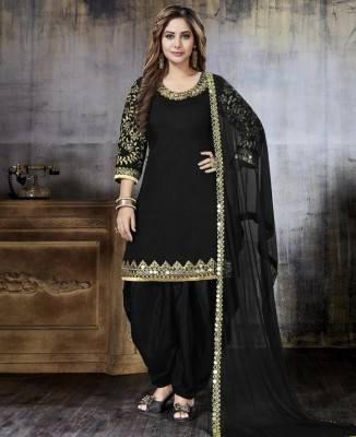 Jari Art Silk Black Patiyala Salwar Kameez