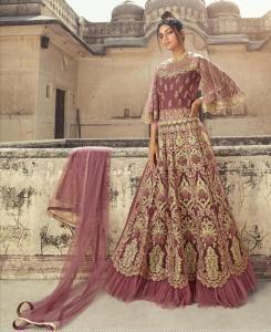 Sequins Net Abaya Style Salwar in Onion Pink