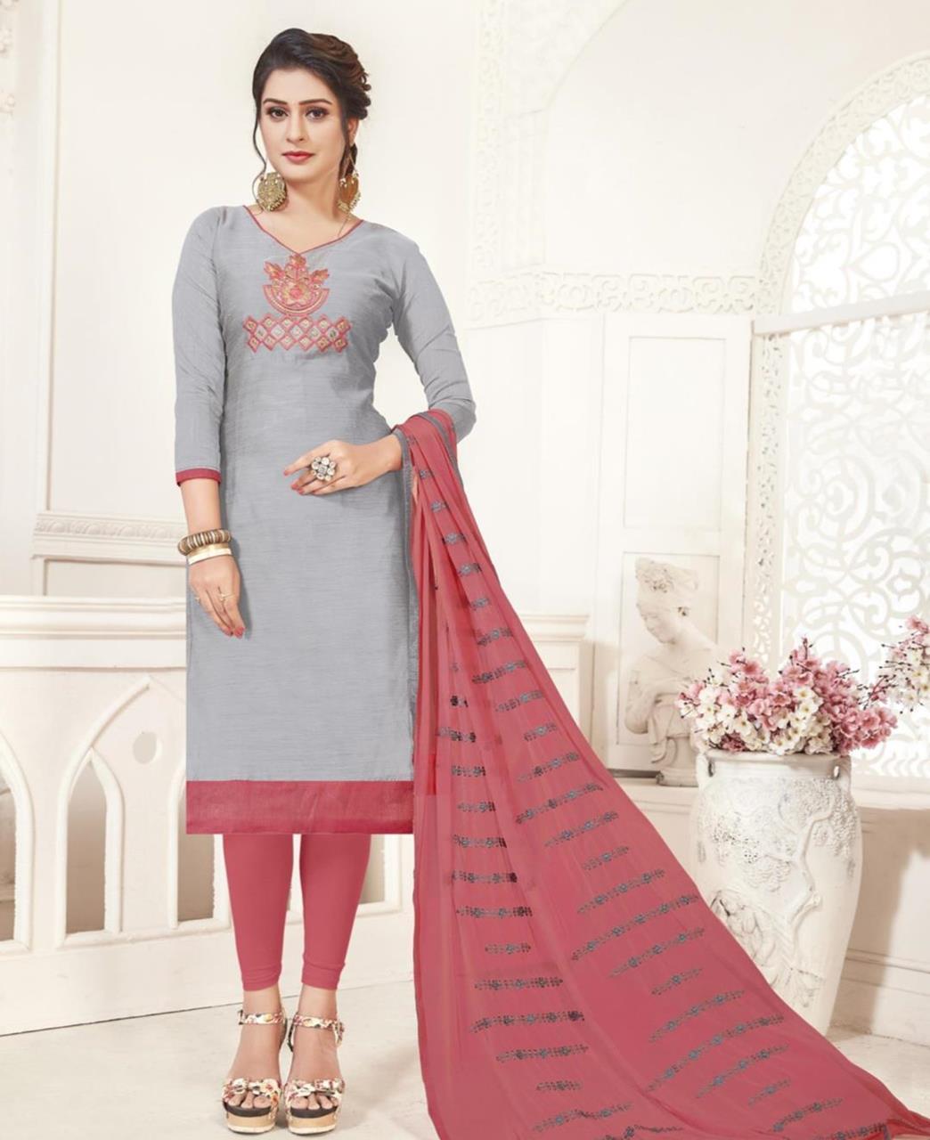 Embroidered Silk Gray Straight Cut Salwar