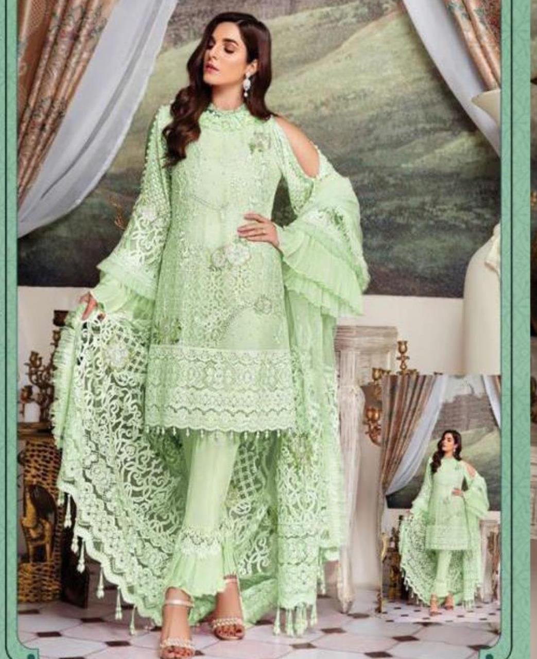 Embroidered Georgette Straight cut Salwar Kameez in Pista