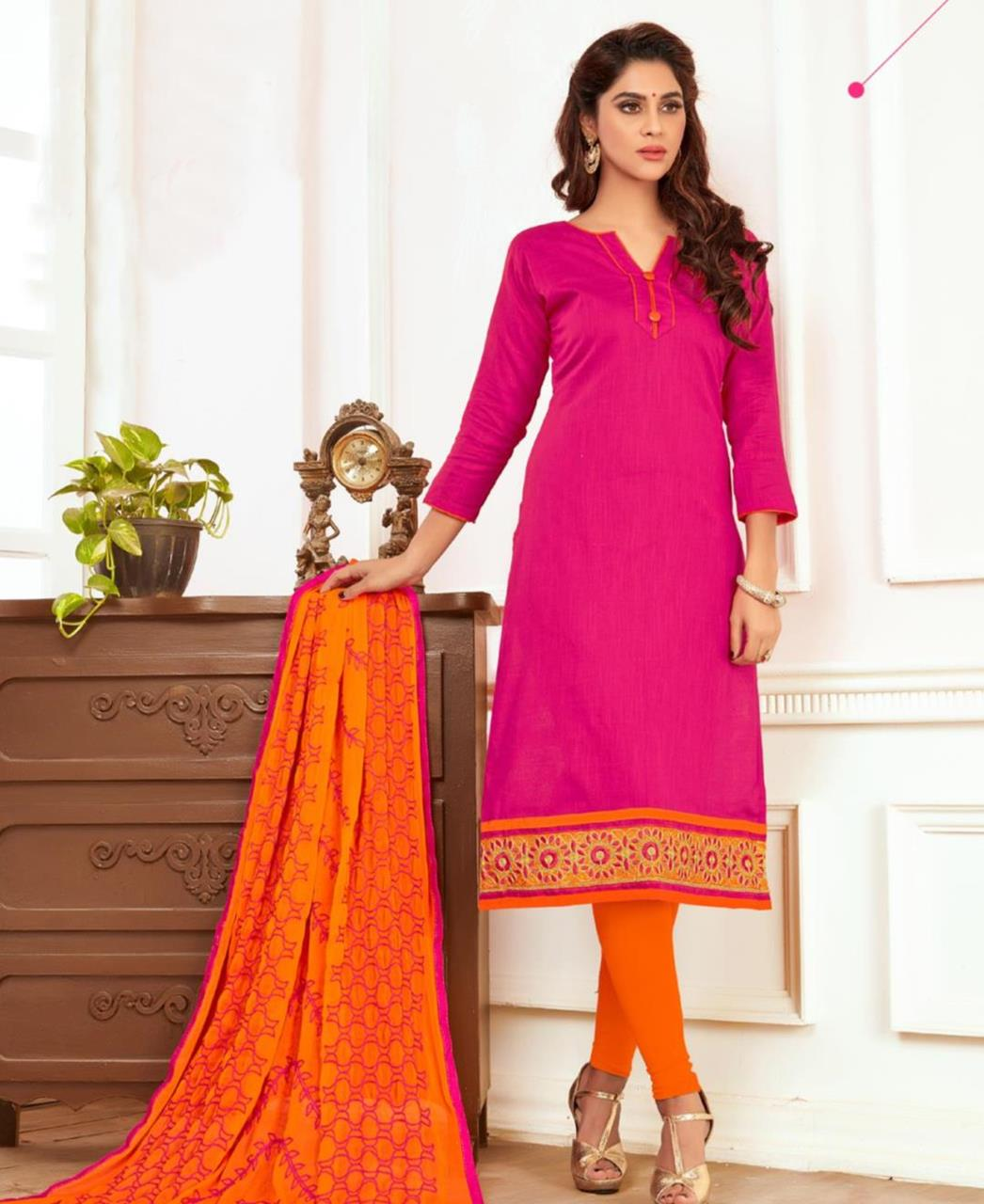 Embroidered Cotton Pink Straight Cut Salwar Kameez