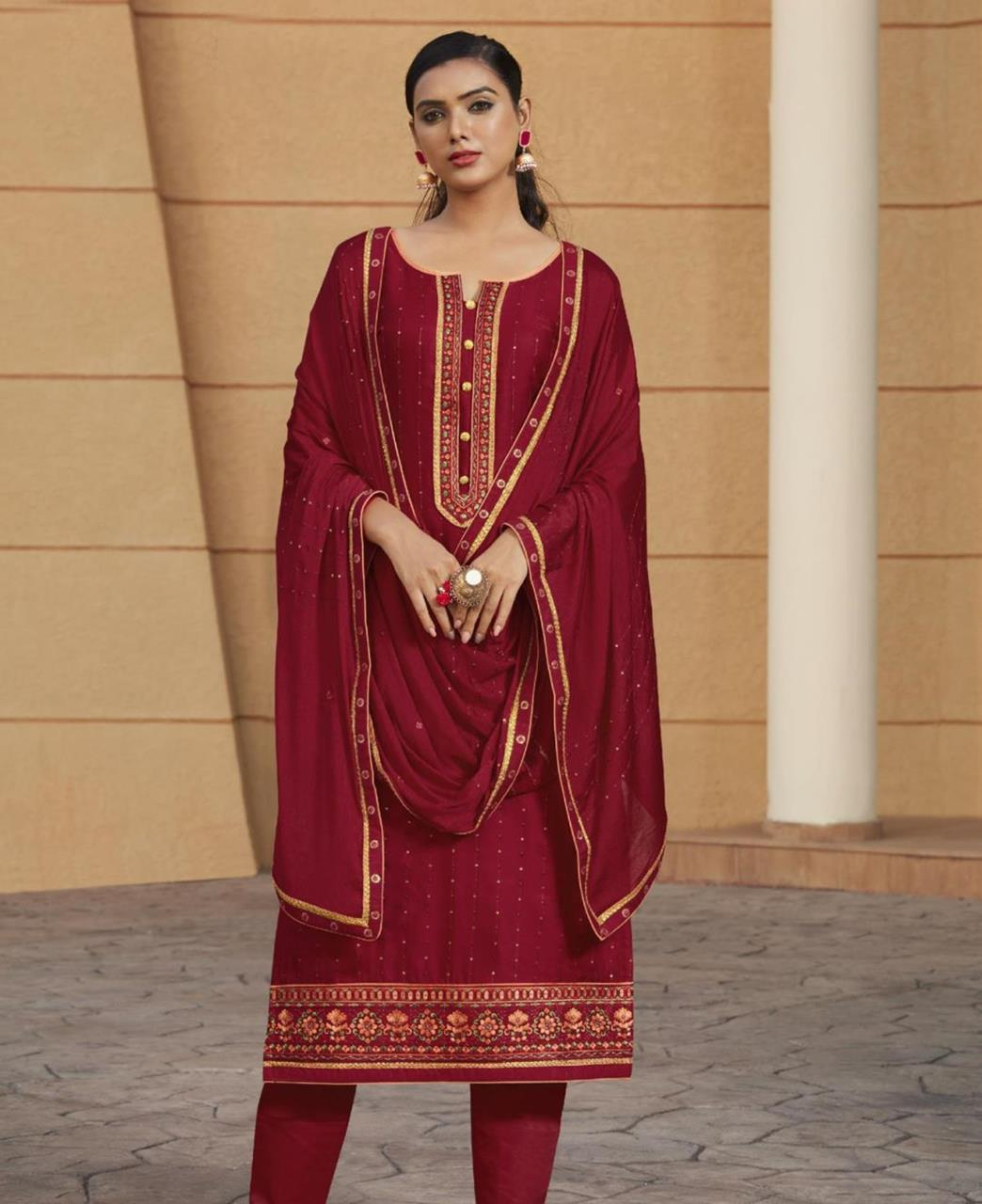 Stone Work Satin Straight cut Salwar Kameez in Red