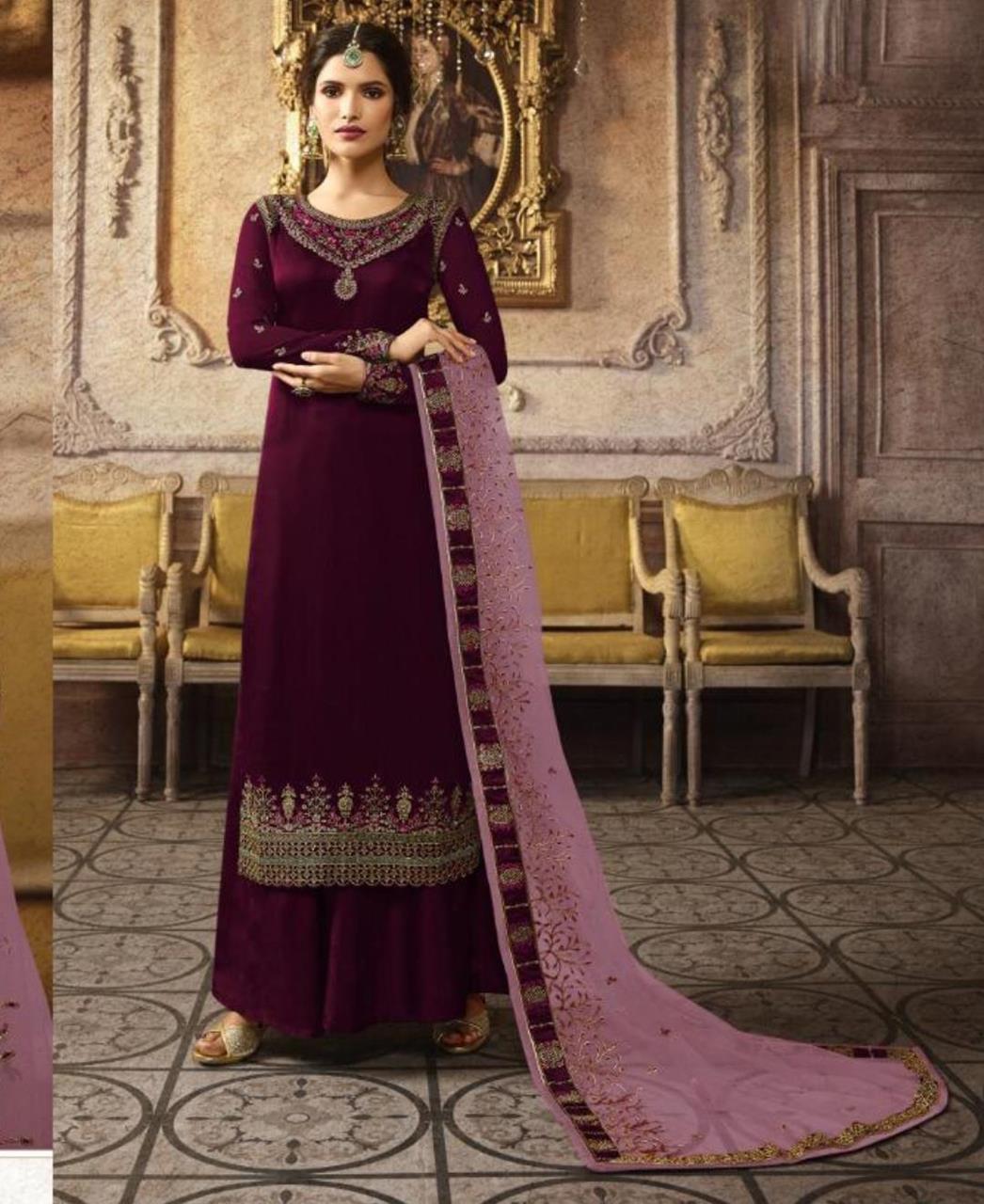 Stone Work Georgette Straight cut Salwar Kameez in Purple