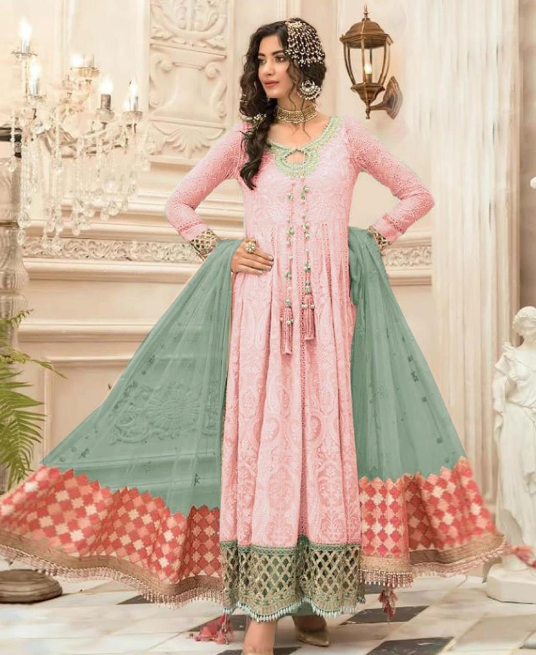 Embroidered Georgette Abaya Style Salwar in Light Pink