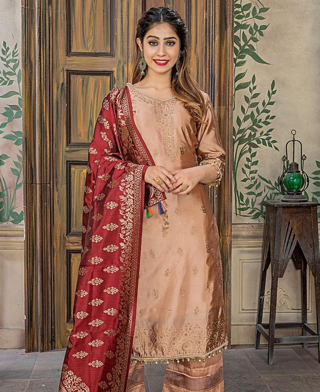 Embroidered Banarasi Silk PeachPuff Palazzo Suit Salwar