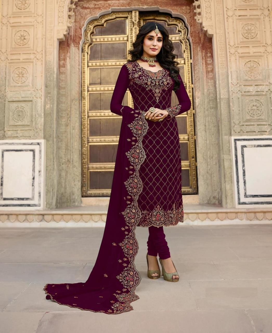 Georgette Straight cut Salwar Kameez in Purple