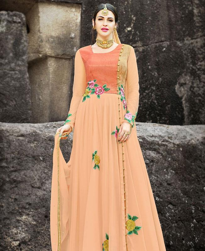 Embroidered Georgette Orange Abaya Style Salwar