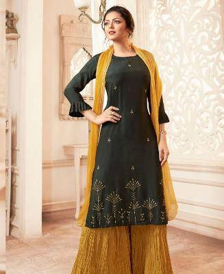 Embroidered Viscose OLIVE Palazzo Suit Salwar
