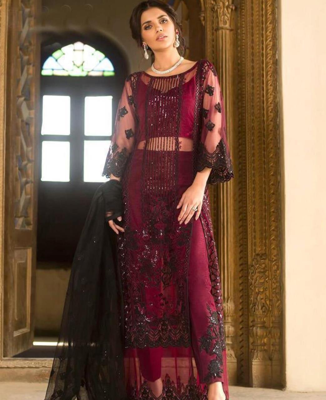 Zari Georgette Straight cut Salwar Kameez in Maroon