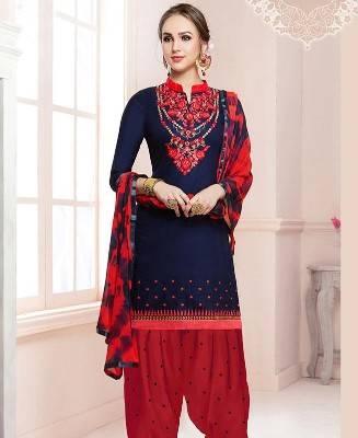 Embroidered Cotton Blue Patiyala Salwar