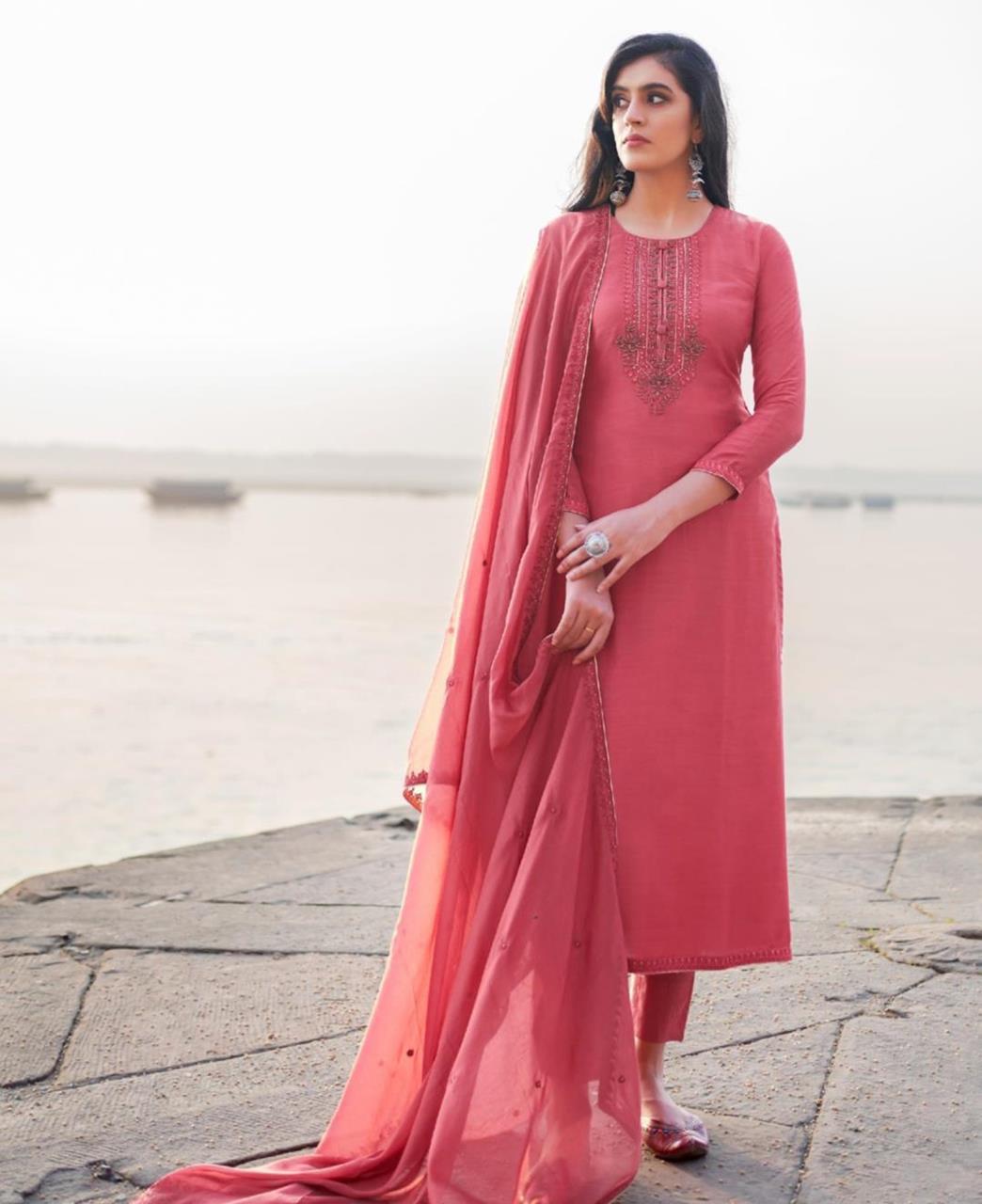HandWorked Cotton Straight cut Salwar Kameez in Rose Pink