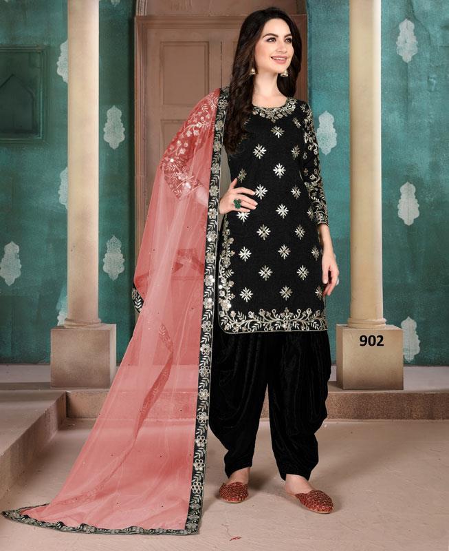 Silk Patiyala Suit Salwar in Black
