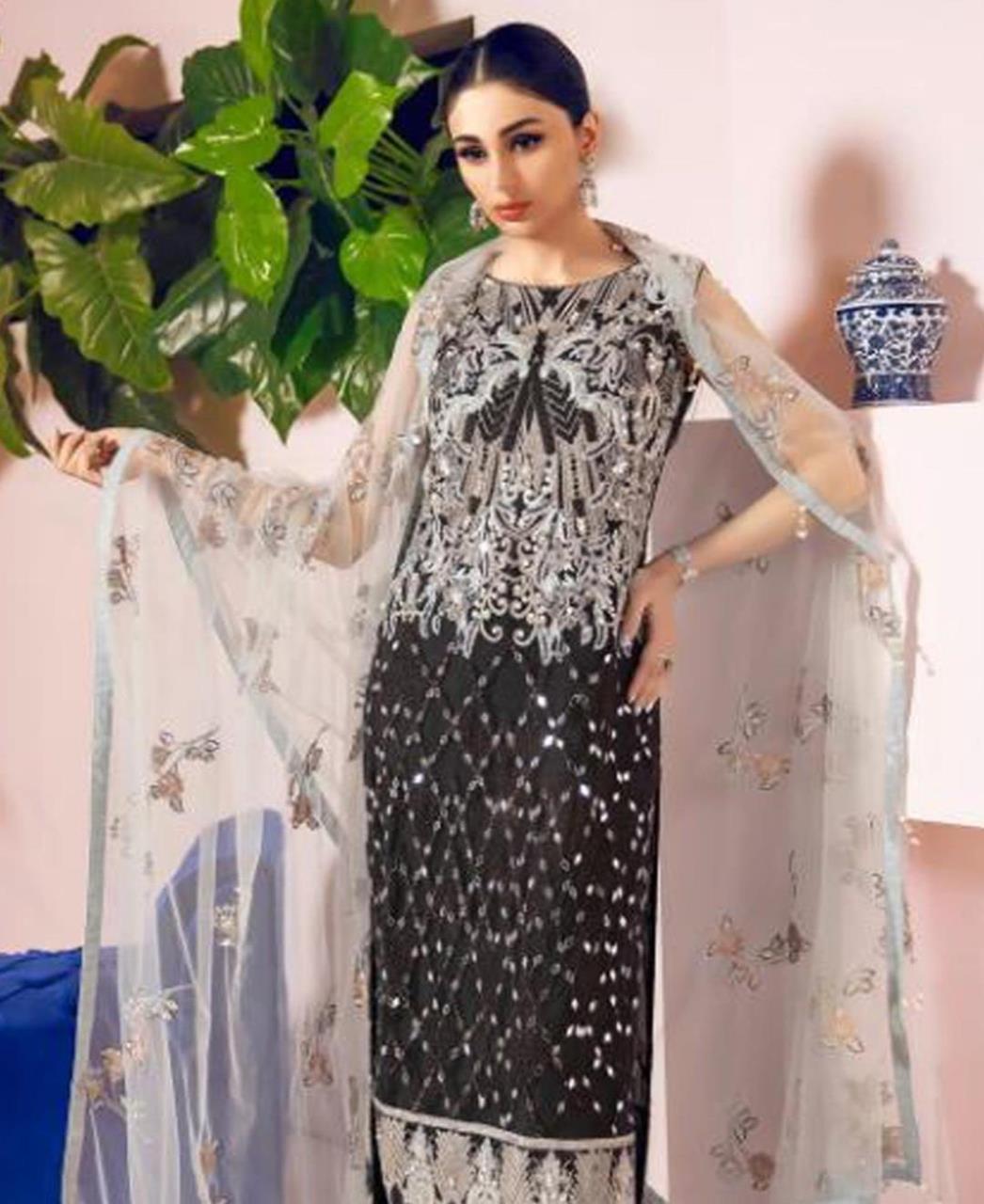 Thread Georgette Straight cut Salwar Kameez in Black