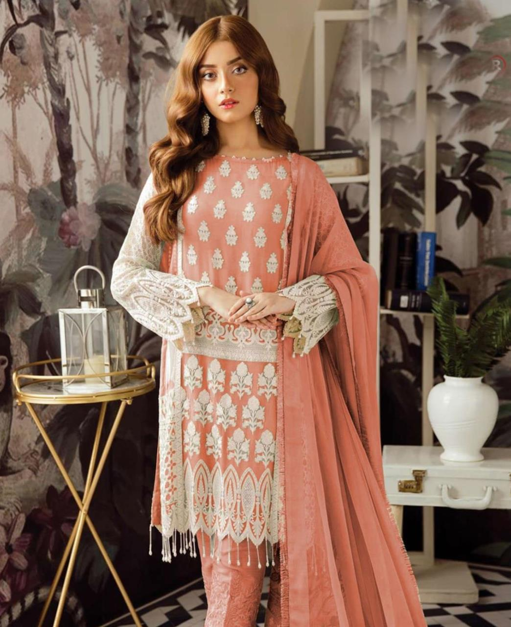 Embroidered Georgette Straight cut Salwar Kameez in Peach