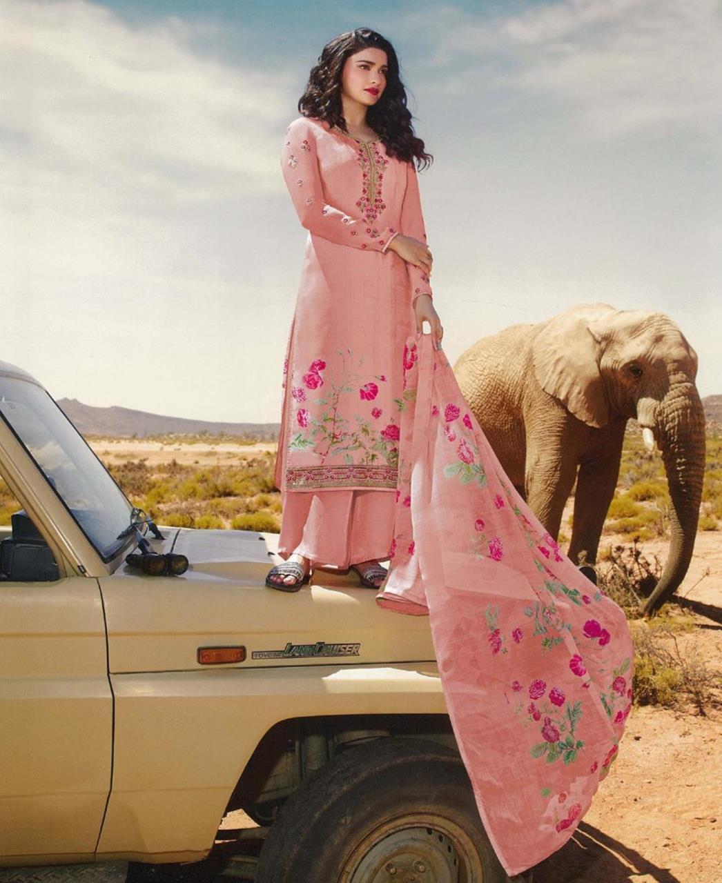 Resham Crepe Straight cut Salwar Kameez in Baby Pink