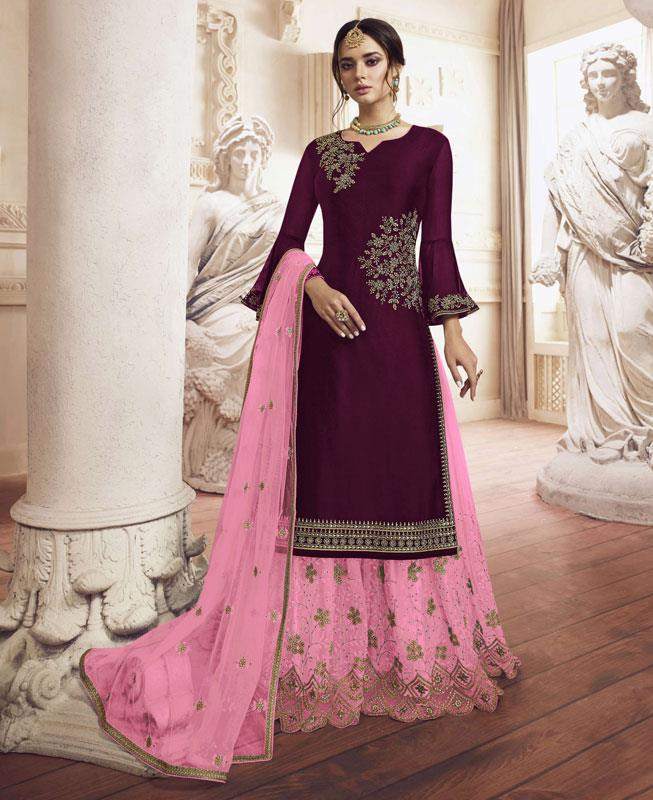 Embroidered Georgette Maroon Palazzo Suit Salwar